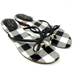 Kate Spade Flip Flop Black Sandal Plaid Size 9.5
